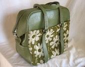1960's Samsonite Fashionaire Tote Bag Green Luggage