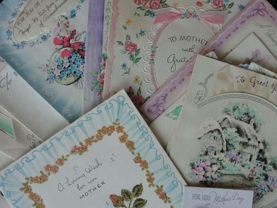 Collection vintage mother's day cards used