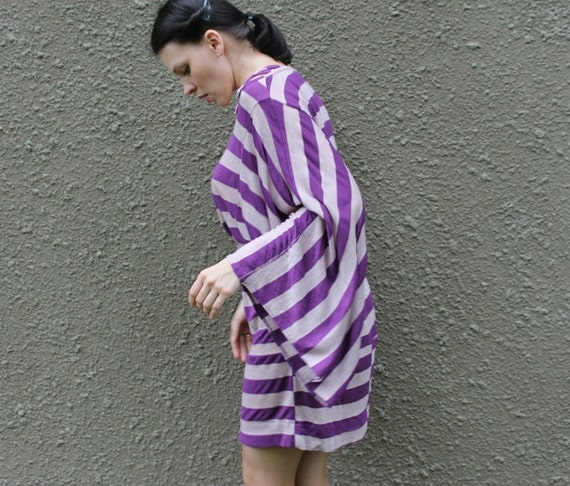 Striped purple dress tunic with loose sleeves eco friendly repurposed one of a kind