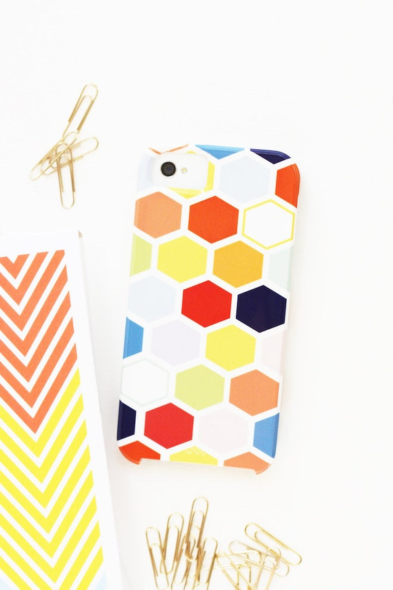 Personalized Samsung Galaxy or iPhone case - Hexagon Collection