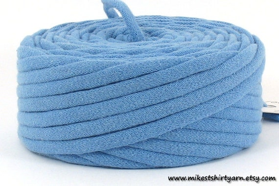 T Shirt Yarn Recycled Blue 30 Yards Super Bulky Crafting Cord