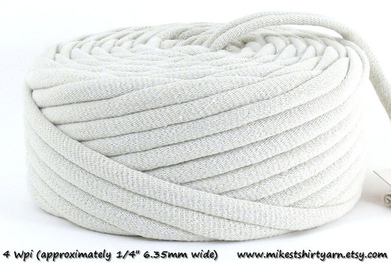 Recycled T Shirt Yarn Beige or Off White 28 Yards 4 Wpi