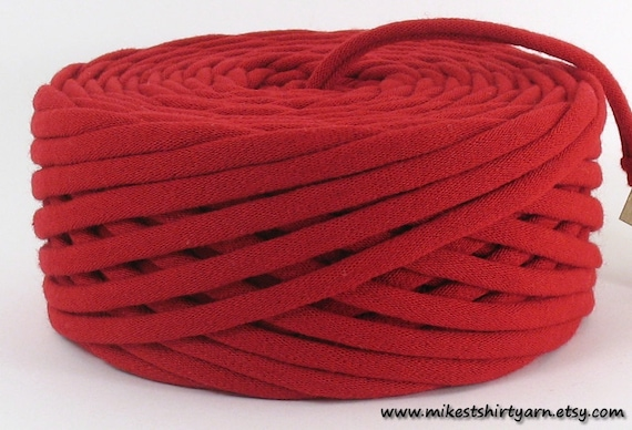 Red Recycled T Shirt Yarn 40 Yards Super Bulky Crafting Cord