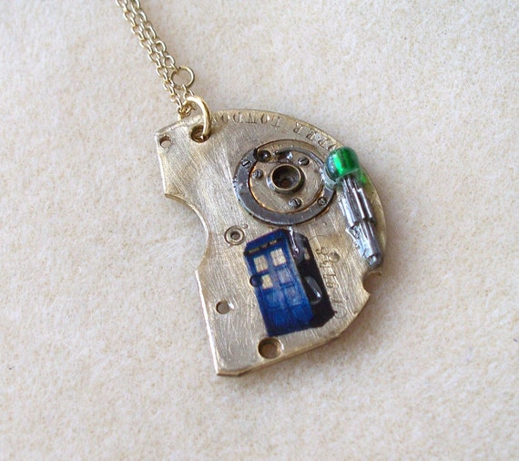 """Doctor Who Pocket Watch Necklace """"The First Question"""""""