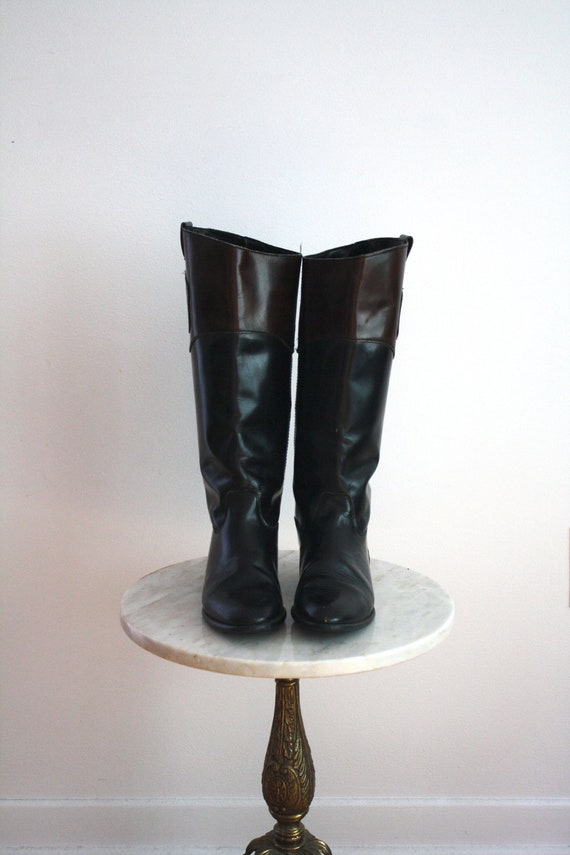 RIDING Boots - Patent Leather Black Brown ITALIAN Embossed Stamped - Women's 9 - 1980s VINTAGE