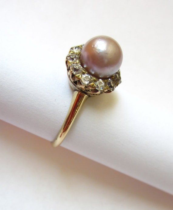RESERVED Listing- STUNNING Antique Edwardian Silvery Pink Pearl Surrounded by Diamonds Engagement 14K Ring