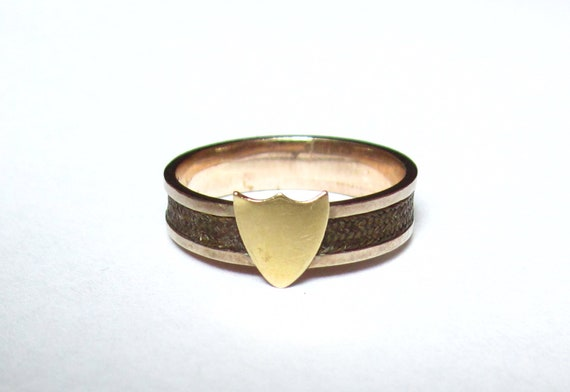 Sale- Antique (1862) CIVIL WAR Era Mourning Hair RIng with Crest/Shield