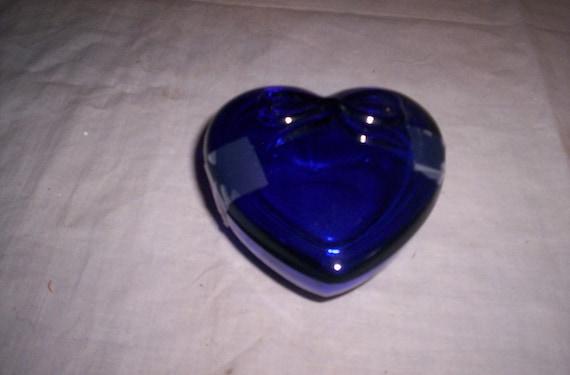 vintage cobalt blue glass trinket box