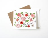 Botanical Thank You Card - Floral Flowers Thanks Illustrated Note Card