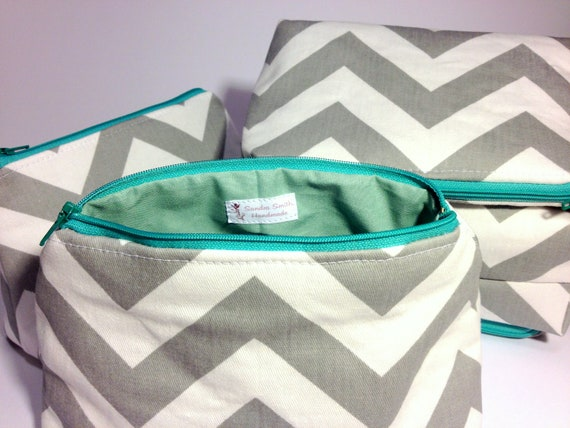 Bridal Set - 5 Zippered Cosmetic Pouches: Mint Slate Chevron