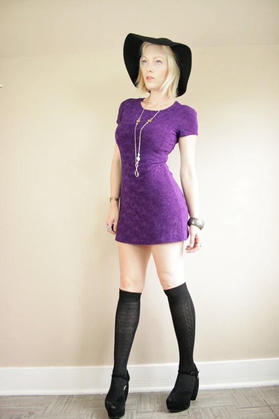 Royal Purple Daisy Print Texture Stretch Mini Dress