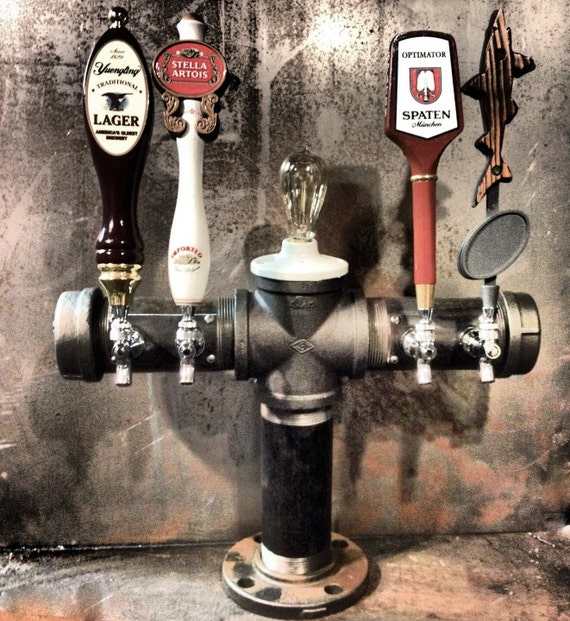 Custom Draft Beer Tower 4 Tap Iron Pipe With Edison Light