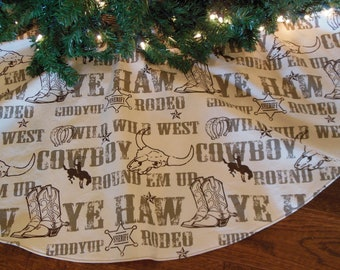 "Western Christmas Tree Skirt, Cowboy Tree Skirt, Cowboy Christmas Decoration, Western Decor,  Western Tree Skirt, 48""  Xmas Tree Skirt"
