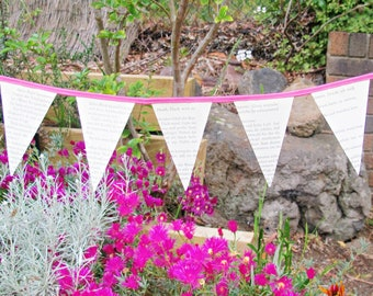 Book Page Mini Bunting Pink Upcycled Paper German Wall Hanging Wedding Bridal Rustic Shabby Chic Literature Upcycled Handmade Fraulein