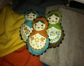Matryoshka Doll Fabric Sachets filled with Organic Lavender - set of 3