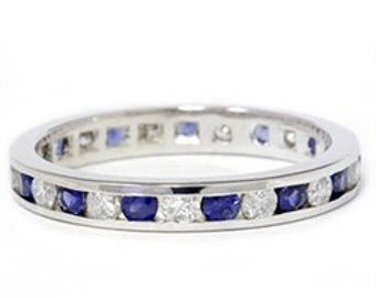 Blue Sapphire & Diamond 1.50CT Channel Set Eternity Wedding Stackable Anniversary Ring 14K White Gold Size 4-9