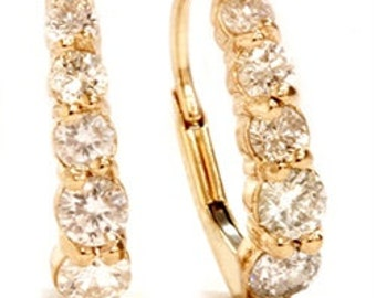 Diamond Hoop Earrings 3/4CT Diamond Hoops 14k Yellow Gold Lever back Clasp