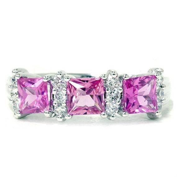 1.48CTPrincess Cut Pink Sapphire & Diamond Anniversary Ring 14K White Gold Wedding Size (4-10)