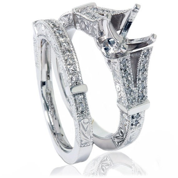 Vintage Diamond Engagement Matching Antique Hand Engraved Art Deco 14K White Gold Setting Set Mounting 1/2CT
