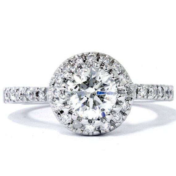 Certified Diamond Engagement Ring Pave Halo 14k White Gold Round Brilliant Cut IGI Size 4-9