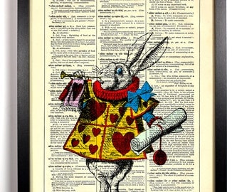 Color Version The White Rabbit Alice In Wonderland, Home, Kitchen, Nursery Decor, Gift, Eco Book Art, Vintage Dictionary Print 8 x 10 in.