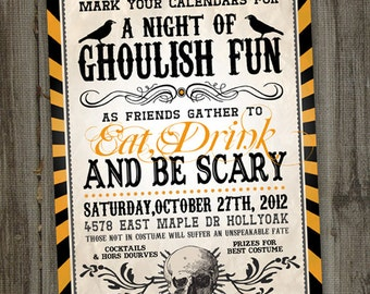 Adult Halloween Party Invitations, Halloween Invitation, PRINTABLE, Halloween Party Invite, Eat Drink and Be Scary, Skull Invitations