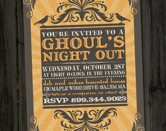Ghoul's Night Out Vintage Retro Halloween Printable Party Invitation, Costume Party Invitation, Halloween Party Invite, Spooky Invitations