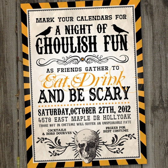 Adult halloween party invitations halloween invitation for Vintage halloween party invitations