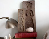 Hansel and Gretel, Wooden Gingerbread Moulds, Carved. Vintage Home Decor or Baking. Thanskgiving Christmas.