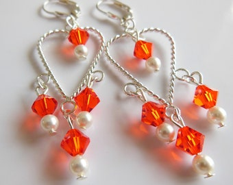 Silver pearl and strawberry red  chandelier earrings E124