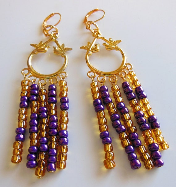 Gold and purple glass, chandelier earrings
