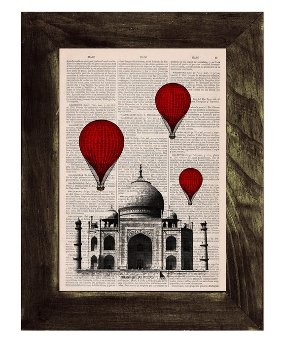 Christmas Sale Vintage Book Print -  Taj Mahal Balloon Ride Print on Vintage Book art TVH044