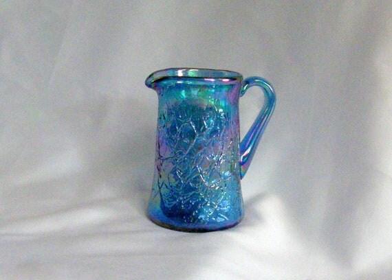Vintage Fenton Turquiose Carnival Glass Creamer Pitcher Gorgeous
