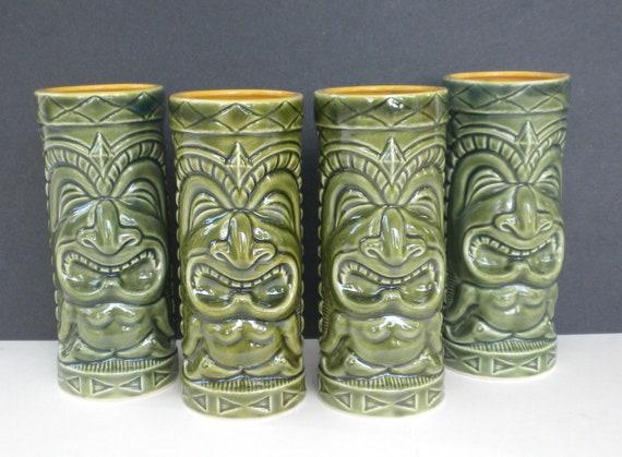 4 Vintage Tiki Mugs / OMC Tiki Mugs Green Maori Hi-Ball Glasses / Green Glaze Ceramic Mugs