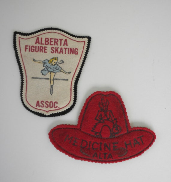 1950s Felt Patches / Canadian Felt Patches / Alberta Figure Skating Assoc.Patch / Medicine Hat Alta Felt Patch