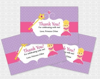 Princess Party Thank You Tags, Printable file, Personalized