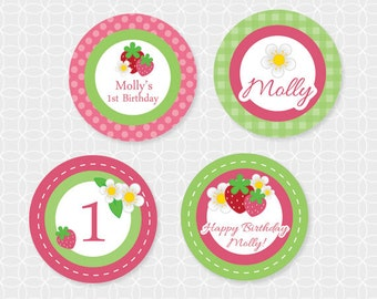 Strawberry Party Circles - Personalized Printable, cupcake topper, berries, flowers, green, birthday, strawberries, girl