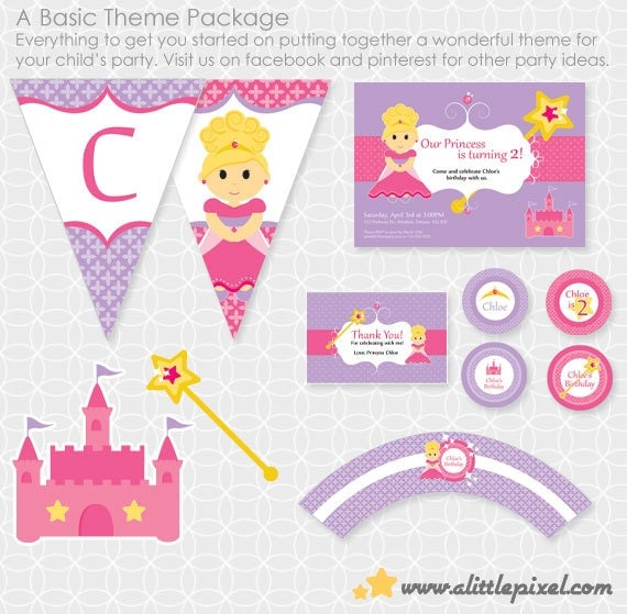 Princess Party Theme - Personalized Printable
