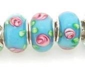 Blue with Pink and Green European Style Large Hole Bead with a Sterling Silver Core