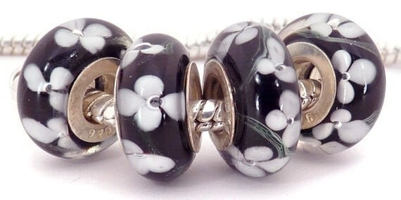 Black with White European Style Large Hole Bead with a Sterling Silver Core