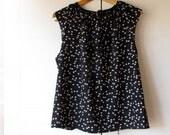 Black women shirt top, 100% cotton italian voile. Raglan sleeve. Size M/L, 10 US, 44 EUR