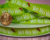 Lime Green Ho Ho Ho Christmas Grosgrain Ribbon 3/8  Inch ...  2 Yards