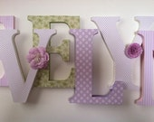 Alphabet wooden letters for nursery in pink, white, green and lilac spelling out your child's name letters stand up initial monogram