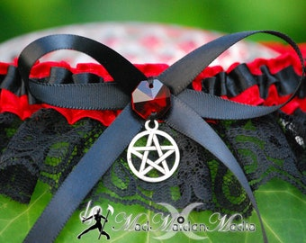 Handfasting Pagan Witch Wedding  Bridal Garter Red or any Color of your Choice Satin Lace with Prism Crystal  Pentacle Charm