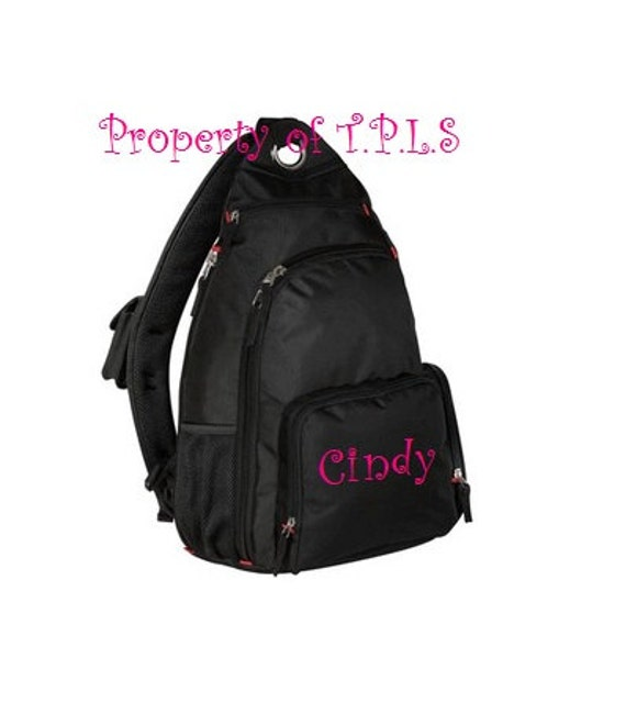 Personalized Custom Embroidered book bag school SLING backpack Monogrammed 4 colors to choose from college