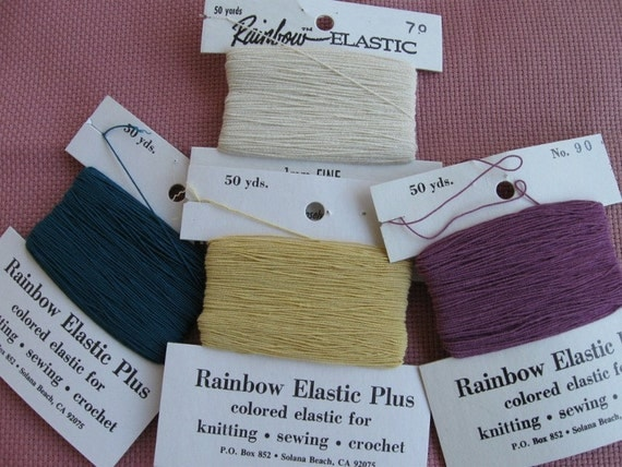 Rainbow Elastic a carry-along  thread to work a firmer ribbing or neckline as you knit your sweater.
