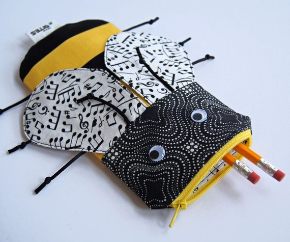 Bee Bag Pencil Case Music Notes Zipper Pouch - Children's Gift: Musical Bumble Bee Bite, Ready to ship