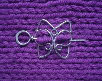 Sterling Shawl Pin Butterfly/Cat