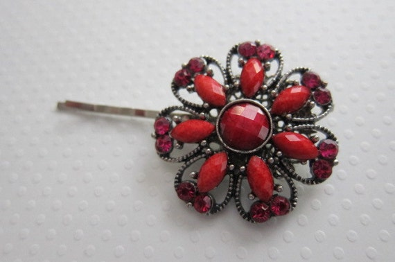 FuNkY & FuN  Red Beaded Stone and Hot Pink Rhinestone Flower Shaped Hair Pin in Silver.  READY TO SHIP.