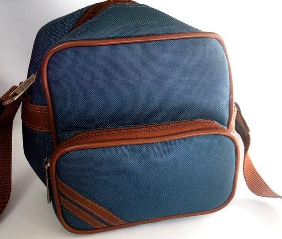 Vintage Blue Nylon Camera Case Bag